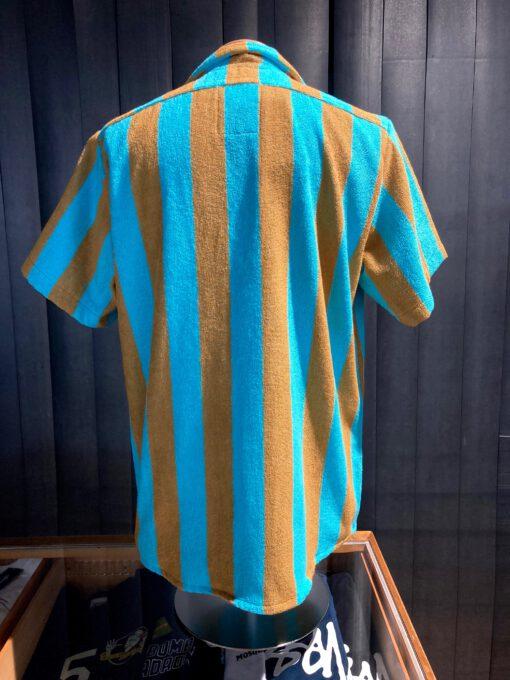 OAS Turcs Soft Cotton Terry Shirt, kurzarm Hemd, Frottee, Gross real wear München, gestreift, Turquise, Ocker, Reverskragen Loop Collar