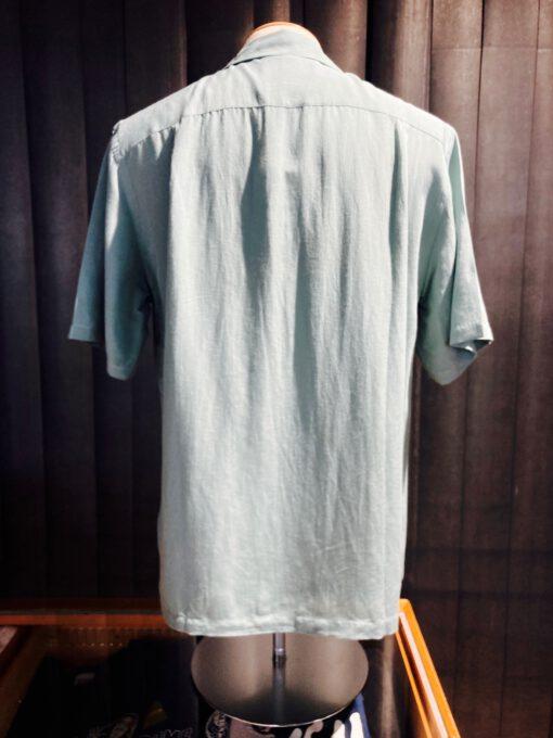 Portuguese Flannel Catown Shirt, kurzarm Hemd, Gross real wear München, Mint, Brusttasche, Loop Collar, Reverskragen, Viscose, Leinen