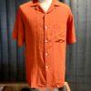 Portuguese Flannel Catown Shirt, kurzarm Hemd, Gross real wear München, Terracotta, Brusttasche, Loop Collar, Reverskragen, Viscose, Leinen