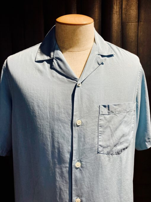 Portuguese Flannel Dogtown Shirt, kurzarm Hemd, Gross real wear München, hellblau, Brusttasche, Loop Collar, Reverskragen, Lyocell