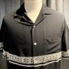 Portuguese Flannel Folclore Shirt, kurzarm Hemd, Brusttasche, Gross real wear München, Viscose, Reverskragen, Loop Collar, Spitzenbordüre, Black