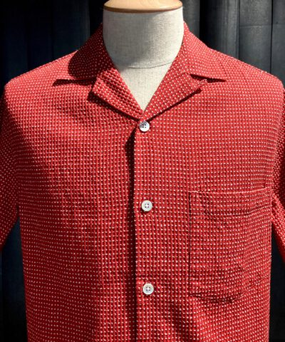 Portuguese Flannel Ring Shirt, kurzarm Hemd, Reverskragen, Loop Collar, Brusttasche, Gross real wear München, Red