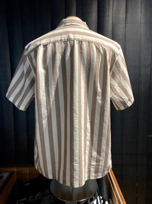 Potuguese Flannel Stripe Shirt, kurzarm Blockstreifenhemd, Baumwolle, Brusttasche, Gross real wear München, Reverskragen, Loosfit, Loopcollar, Beige, Weiß