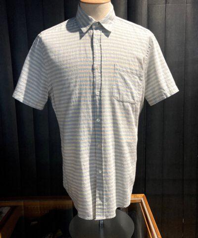 Portuguese Flannel Stripe Shirt, hellblau quergestreift, durchgeknöpft, kurzarm Hemd mit Brusttasche, Gross real wear München