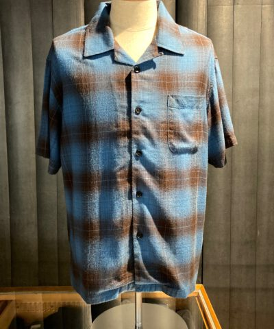 Stüssy Boxy Shadow Plaid Shirt, kurzarm Schattenkaro Hemd, Loop Collar, Reverskragen, Gross real wear München, Rayon, Blue, kariert