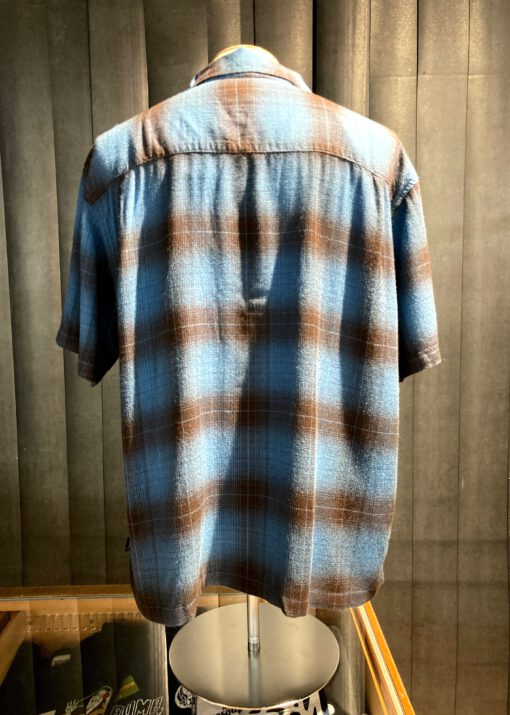 Stüssy Boxy Shadow Plaid Shirt, kurzarm Schattenkaro Hemd, Loop Collar, Reverskragen, Gross real wear München, Rayon, Blue, kariert