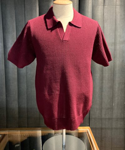 Stüssy Cable Mesh Short Sleeve Polo, kurzarm, Polyester, Gross real wear München, Maroon, gestrickt