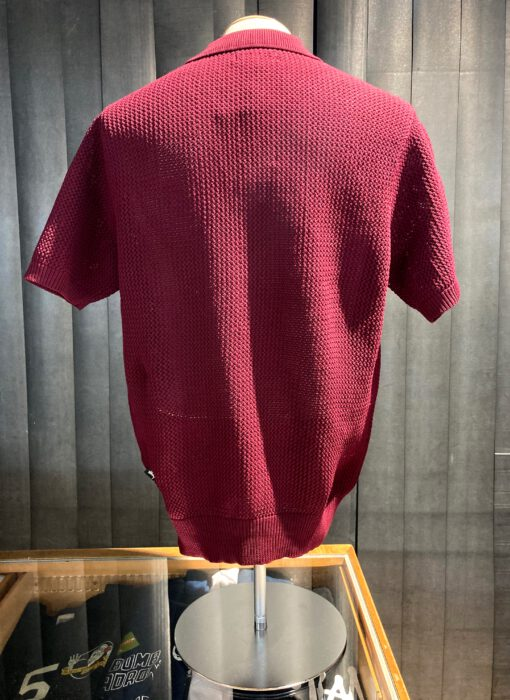 Stüssy Cable Mesh Short Sleeve Polo, kurzarm, Polyester, Gross real wear München, Maroon, gestrickt