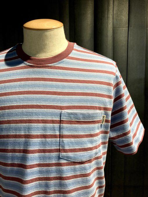 Stüssy Griffin Stripe Crew T-Shirt, kurzarm gestreift, Brusttasche, Gross real wear München, Braun, Hellblau, Baumwolle