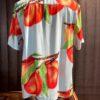 Stüssy Peach Pattern Shirt, kurzarm Hemd, Pfirsich print, Rayon, Gross real wear München, Loopcollar, Reverskragen, hellblau