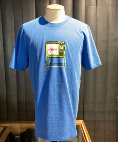 Stüssy Rolling Tv Pigment Dyed T-Shirt, gewaschen, Gross real wear München, blue