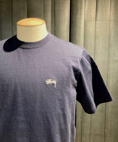 Stüssy Stock Logo Ss Crew T-Shirt, Gross-real wear München, Navy, Cotton, Stickerei