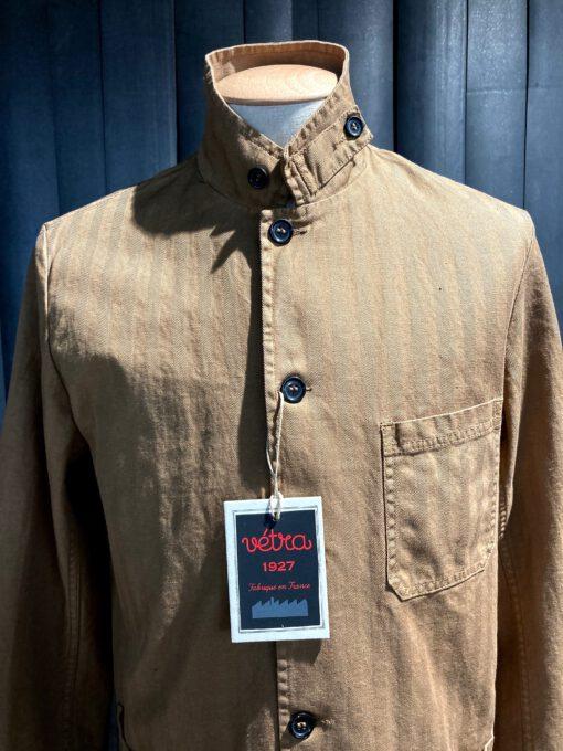 Vetra Worker Jacket Herringbone, Baumwolle, Leinen, Stehkragen, Reverskragen, durchgeknöpft, Gross real wear München, Braun
