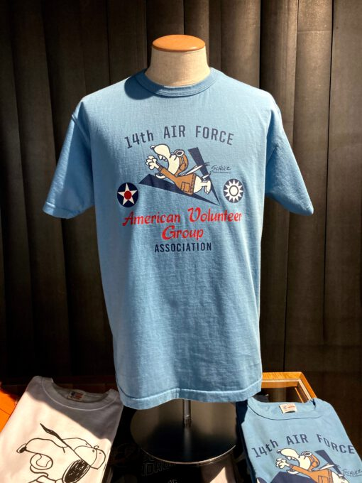 Buzz Rickson's X Peanuts AGV Flying Snoopy T-Shirt, Blue, Gross real wear München, Cotton, Front und Back Print