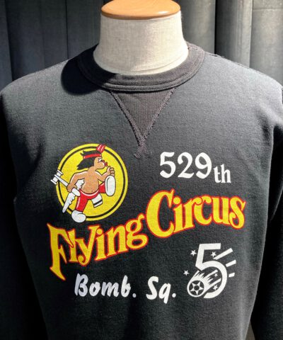 Buzz Rickson's Set In Crew Neck Sweatshirt 529th Bomb Squadron Flying Circus, Black, Cotton, Gross real wear München
