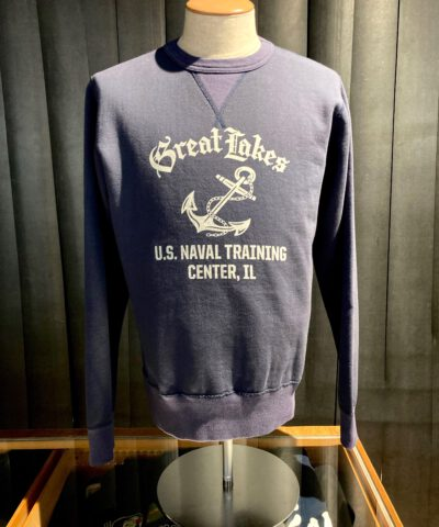 Buzz Rickson's Set In Crew Neck Sweatshirt Great Lakes U.S. Naval Training Center, Gross real wear München, Navy, Cotton