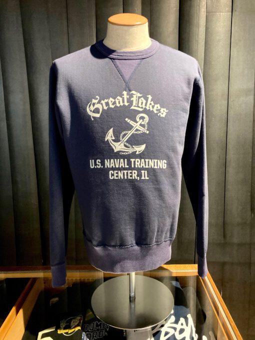 Buzz Rickson's Set In Crew Neck Sweatshirt Great Lakes U.S. Naval Training Center, Gross real wear München, Navy, Cotton