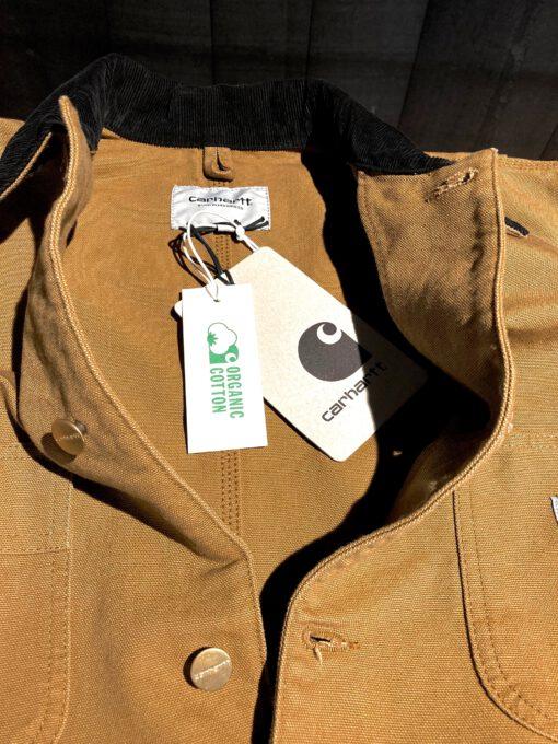 Carhartt WIP Michigan Coat, Organic Cotton Canvas, gewaschen, durchgeknöpft, Messingknöpfe, Brusttaschen, Taschen, Cordkragen, verstellbare Manschette, Gross real wear München, Hamilton Brown, Carhartt WIP Logo