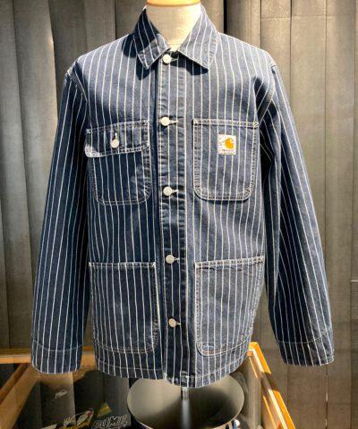 Carhartt WIP Trade Michigan Coat, Dark Navy, Jacke geknöpft, Brusttaschen, Taschen, gestreift, Cotton, Carhartt WIP Logo, Gross real wear München