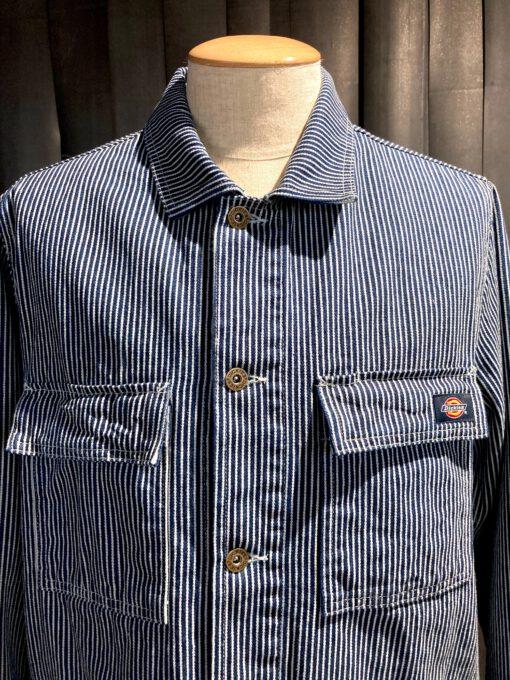 Dickies Morristown Hickory Stripe Jacket, Brusttaschen mit Patte, Taschen mit Patte, Innentasche, gestreifte Jacke, geknöpft, Messingknöpfe, Gross real wear München, Cotton