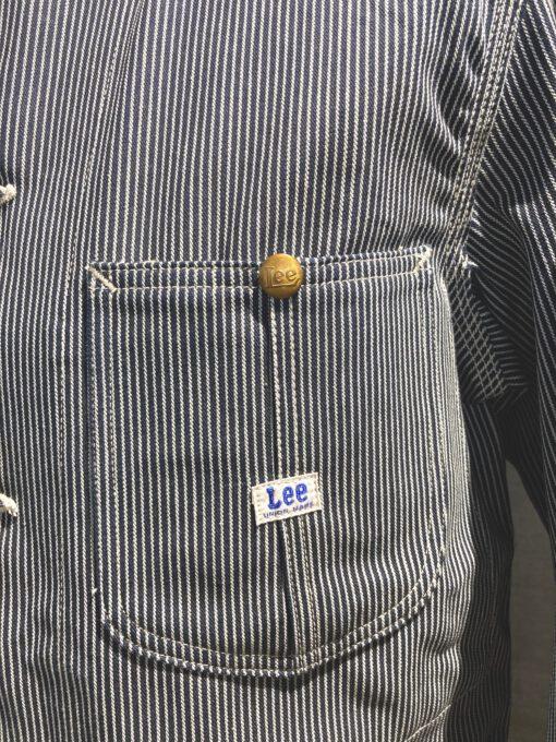 Lee Archives 1950's Hickory Stripe Loco Jacket 98 J, Gross real wear München, Brusttaschen, Taschen, geknöpft, Jacke gestreift, Messingknöpfe, Druckknöpfe, Innentasche, ungewaschen