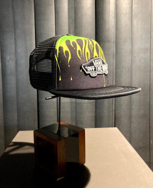 Vans Classic Patch Slime Flame Boys Trucker Cap, Gross real wear München, Black, Mesh Cap, Kinder Cap