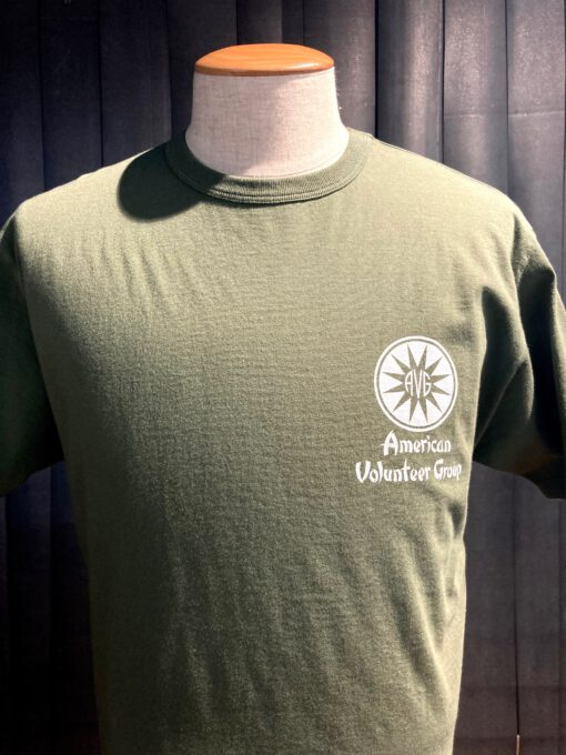 Buzz Rickson's American Volunteer Group T-Shirt, olive, Flying Tiger, Gross real wear München, Front- Back Print