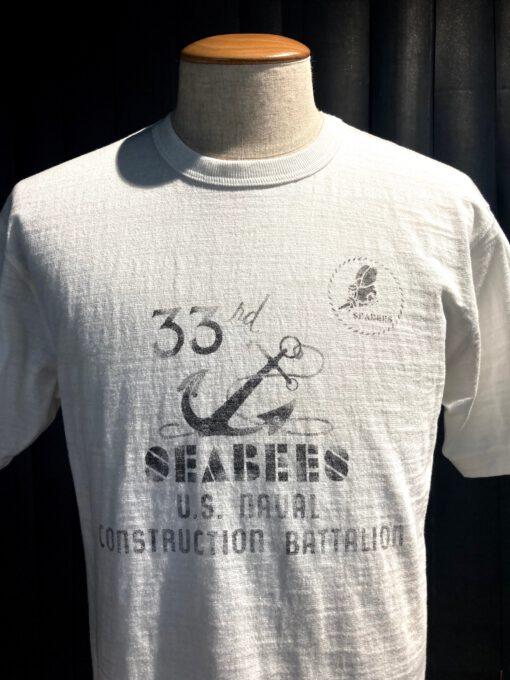 Buzz Rickson's Seabees T-Shirt, Slub Yarn, Flammengarn, Cotton, Weiß, Gross real wear München