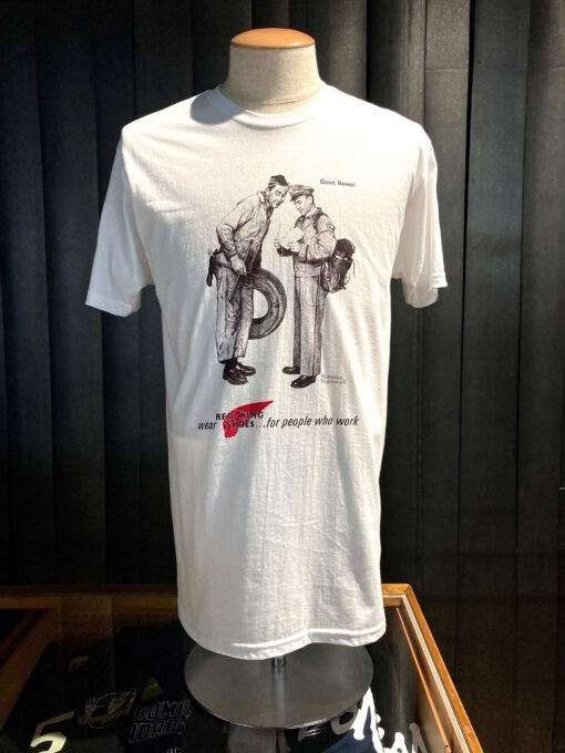 Red Wing Archive AD T-Shirt, Norman Rockwell, weiß, Cotton, Gross real wear München, Postman, Front Print