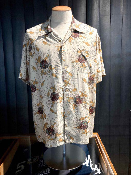 Star of Hollywood 1950's Perfect Strike Bowling Shirt, Rayon, Viscose, Brusttasche, Loop Collar, Reverskragen, Gross real wear München, Beige