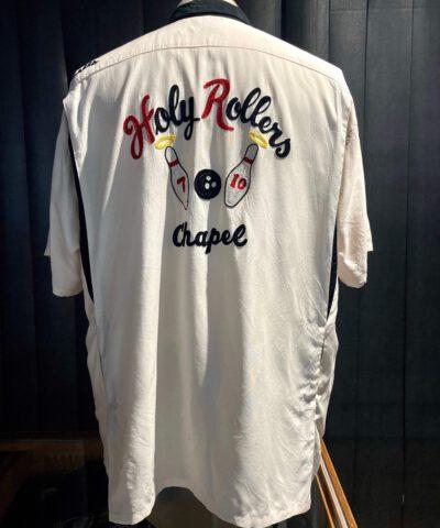 Style Eyes Holy Rollers Bowling Shirt, Loop Collar, Reverskragen, Brusttasche, Rayon, Viscose, Front- und Backprint, Kettenstickerei, Chainstitch, Rückenfalten, Gross-real wear München, Beige