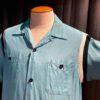 Style Eyes 1950's With Ribs Bowling Shirt, Brusttaschen, Rayon, Viscose, Loop Collar, Reverskragen, Gross real wear München, Hellblau
