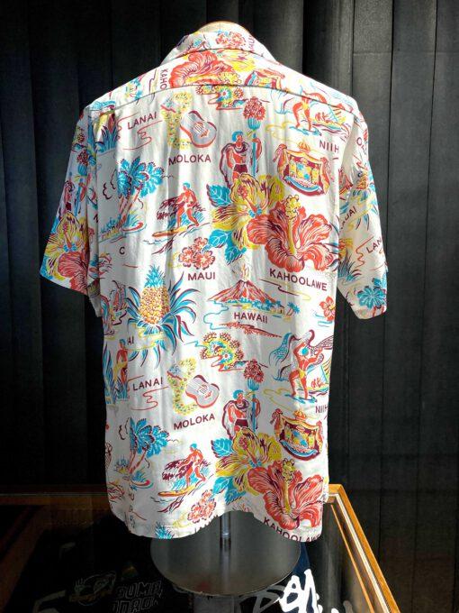 Sun Surf Empyreal Gift from Hawaii 1940's Hawaiian Shirt, kurzarm, Brusttasche, Rayon, Viscose, Loop Collar, Reverskragen, Gross real wear München, Beige