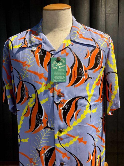 Sun Surf Kihi Kihi Hawaiian Shirt, kurzarm, Rayon, Viscose, Brusttasche, Loop Collar, Reverskragen, Gross real wear München, Hellblau