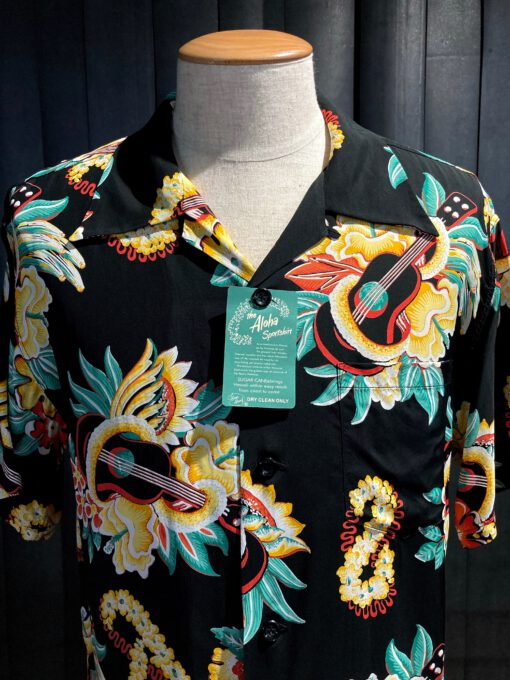 Sun Surf Macintosh Ukulule 1940's Hawaiian Shirt, kurzarm, Loop Collar, Reverskragen, Black, Gross real wear München