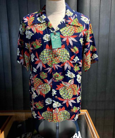 Sun Surf Pineapple 1950's Hawaiian Shirt, kurzarm, Rayon, Viscose, Brusttasche, Loop Collar, Reverskragen, Navy, Gross real wear München
