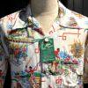 Sun Surf United Airlines 1940's Hawaiian Shirt, kurzarm, Loop Collar, Reverskragen, Rayon, Viscose, Brusttasche, Beige, Gross real wear München