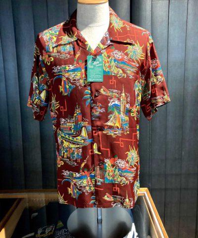 Sun Surf United Airlines 1940's Hawaiian Shirt, kurzarm, Loop Collar, Reverskragen, Rayon, Viscose, Brusttasche, Brown, Gross real wear München