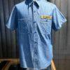 Buzz Rickson's Seabees Work Shirt Blue Chambray, kurzarm, Cotton, Brusttaschen, Gross real wear München, Harnknöpfe (Urea)