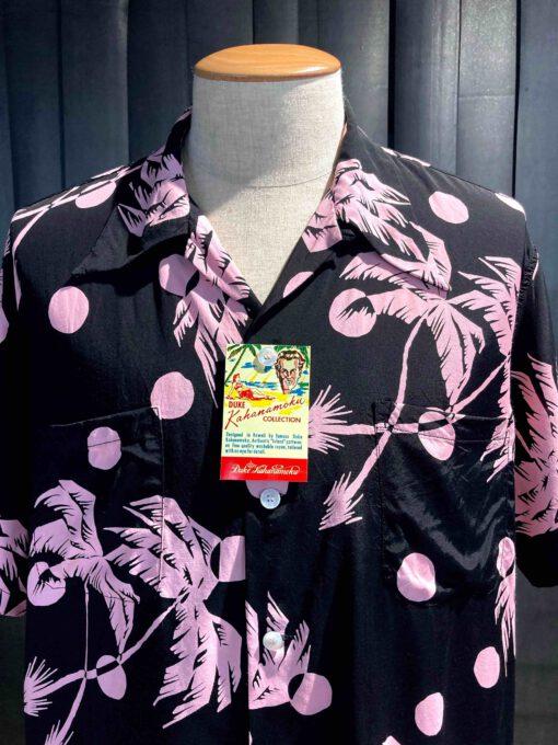 Duke Kahanamoku 1940's Moonlight Palm Tree, Rayon, Viscose, Reverskragen, Loop Collar, Brusttaschen, Gross real wear München, Black
