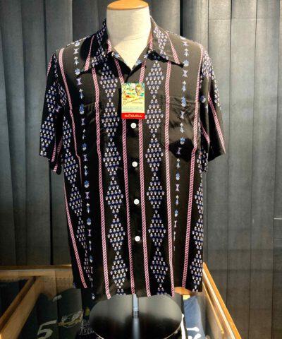 Duke Kahanamoku 1950's Royal Stripe, Champion, Black, Brusttaschen, Reverskragen, Loop Collar, Viscose, Rayon, Gross real wear München