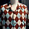 Star of Hollywood 1950's Arggyle Shirt, kurzarm, Rayon, Viscose, Brusttasche, Gross real wear München, Reverskragen, Loop Collar, Brown