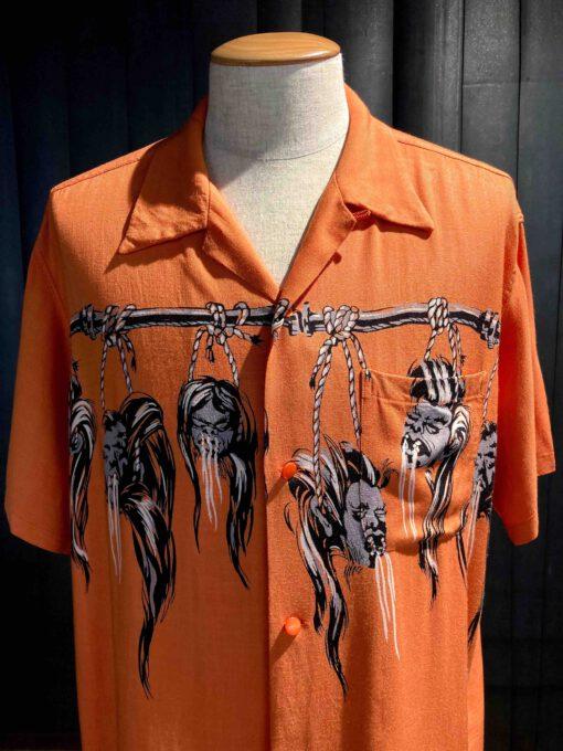 Star of Hollywood 1950's Shrunken Head, Hopsack Rayon, Front and Back Print, Orange, Reverskragen, Loop Collar, Brusttasche, Open Shirt, Gross real wear München