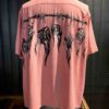 Star of Hollywood 1950's Shrunken Head, Hopsack Rayon, Front and Back Print, Pink, Reverskragen, Loop Collar, Brusttasche, Open Shirt, Gross real wear München