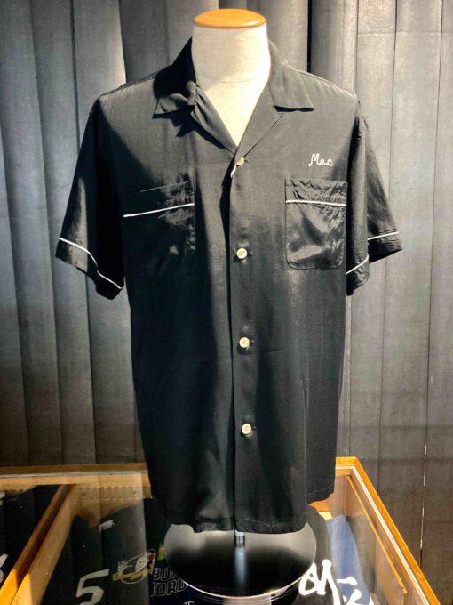 Style Eyes 1950's Monte Carlo Inn Bowling Shirt, Black, Rayon, Viscose, Reverskragen, Loop Collar, Brusttasche, Front and Back Chain Stitch, Paspel, kurzarm, Gross real wear München