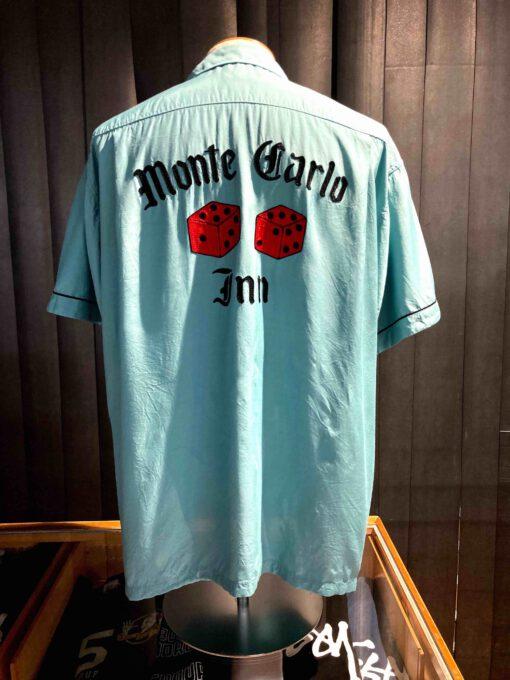 Style Eyes 1950's Monte Carlo Inn Bowling Shirt, Hellblau, Rayon, Viscose, Reverskragen, Loop Collar, Brusttasche, Front and Back Chain Stitch, Paspel, kurzarm, Gross real wear München