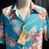 Sun Surf 1940's Japanese Bazaar The cry of the Crane, Rayon, Viscose, Loop Collar, Reverskragen, Gross real wear München, Brusttasche, Turquoise