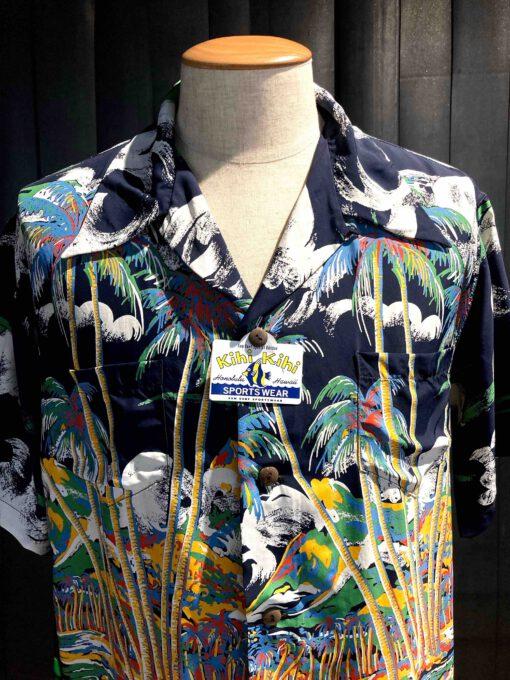 Sun Surf Kihi Kihi 1950's Canoe Race Special Editoin, kurzarm, Rayon, Viscose, Brusttasche, reverskragen, Loop Collar, Gross real wear München, Black