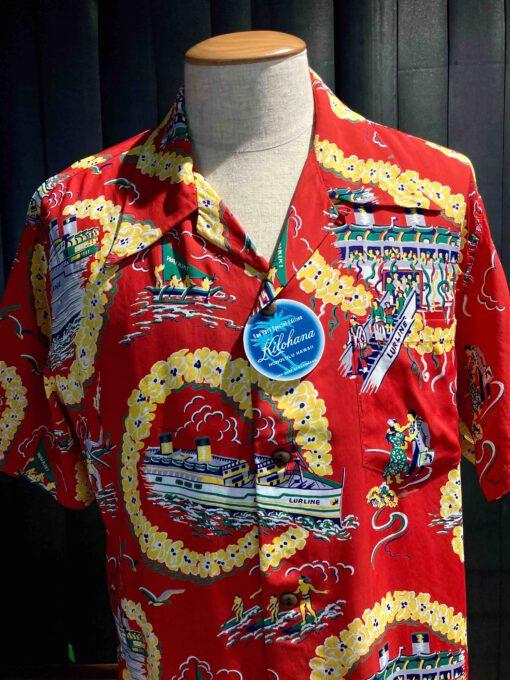 Sun Surf 1950's Matson Line Kilohana Honolulu, Special Edition, kurzarm, Rayon, Viscose, Gross real wear München, Brusttasche, Rot