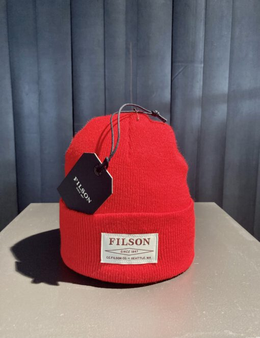 Filson Ballard Watch Cap, Filson Logo,Rot, Gross real wear München, Acrylic